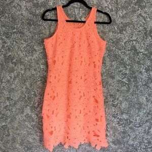 Japna Lace Dress, Bright Coral Orange Size M